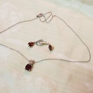 Ruby necklace and earring set